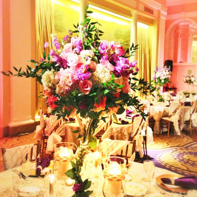 Table centerpieces from a wedding at the Mayflower