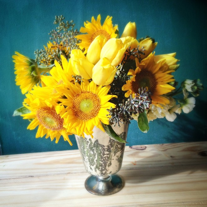 A sunny arrangement for a new baby