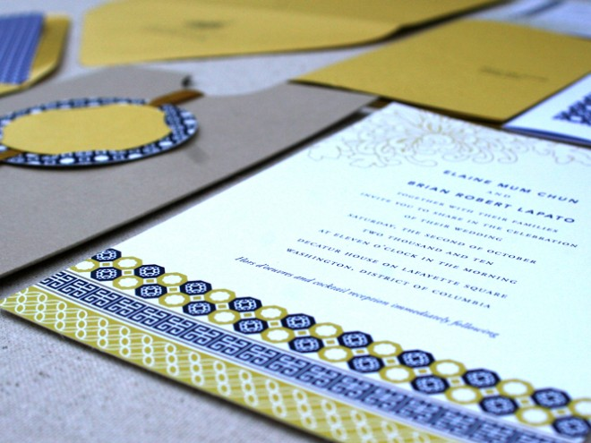 We created a suite that included the invitation, inner and outer envelopes, RSVP card, and an event detail book.
