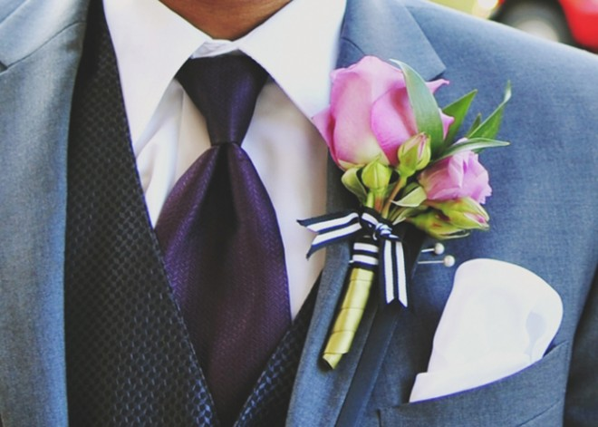 A close-up of Marcus' boutonniere