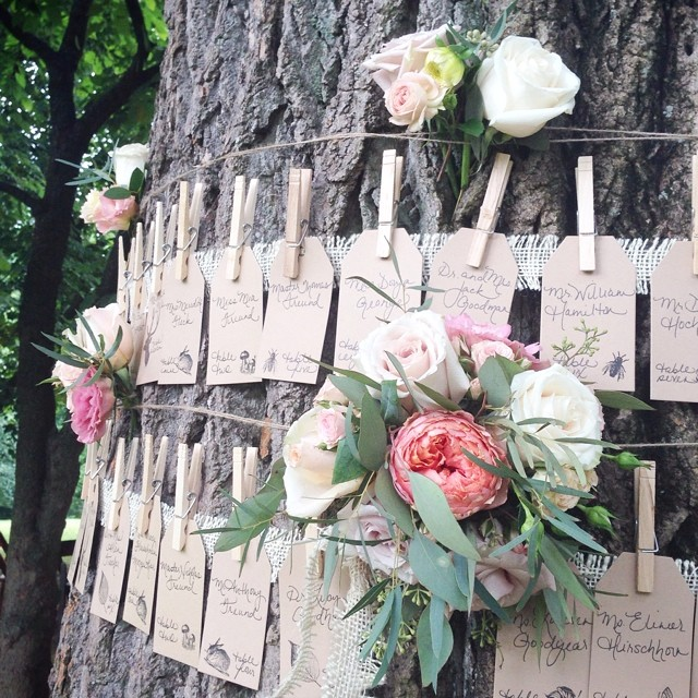 Escort card tree detail from today's wedding at @woodendsanctuary styled by the best Mom a girl could ask for #thankyouMom