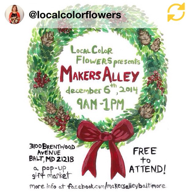 A huge thank you to our friends @localcolorflowers for all of their help with our flower delivery for the wedding--without which I would not have slept a wink the night before the big day! If you're in Baltimore this Saturday, be sure to visit @localcolorflowers from 9-1pm for Makers Alley, their awesome holiday market! #makersalley #locoflo #locofloholiday #regramapp