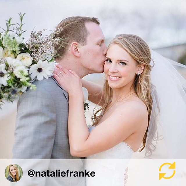 A beautiful shot of our couple from today from @nataliefranke //@nataliefranke: Today was an absolute fairytale! Snow flurries ushered these two in as husband and wife on the shores of the Chesapeake Bay! Congratulations Madeline & Tyson! YOU ARE MARRIED! #regramapp