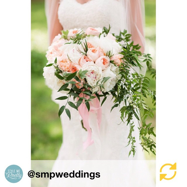 Loved seeing our work on @smpweddings with @karsonbutler  and @katelynjames // RG @smpweddings #peonies #gardenroses and #jasminevine are a gorgeous trio in this #weddingbouquet! #RusticWedding #FarmhouseWedding | Photography: @katelynjames | Gown: Martina Liana | Floral Design: @hwy2hill #regramapp