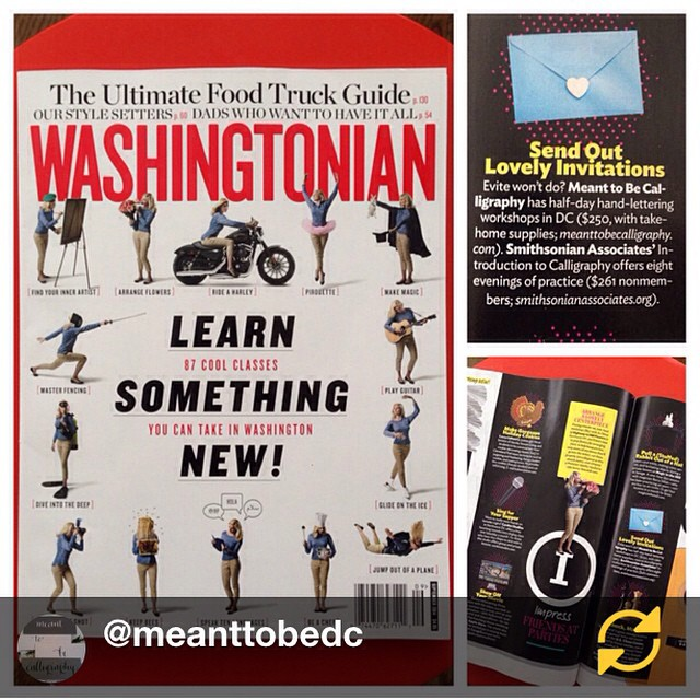 Class is back in session, and I couldn't ask for better company in the September issue--thank you @meanttobedc  and @Washingtonianmag !! RG@meanttobedc: Thanks, @Washingtonianmag, for including Meant To Be Calligraphy's workshops in your fab Learn Something New issue! We're so honored!! And love being in such great company with @hwy2hill! New class dates have just been posted, so pop over to the Learn page of our website to get the details and register, #regramapp